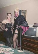 Check out the sexeh TV the hotels sported back then! And I'm wearing a bustier.