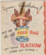 mule feedbag birthday ration card