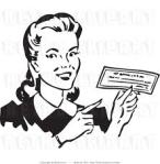 woman holding cheque check money